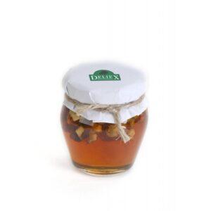 miniatura tarro de miel con nueces