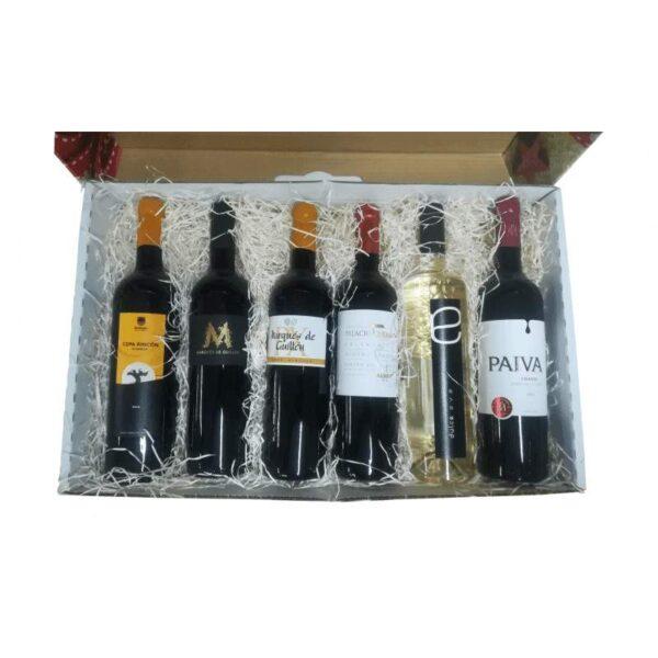 Cesta regalo Navidad con 6 botellas de vino