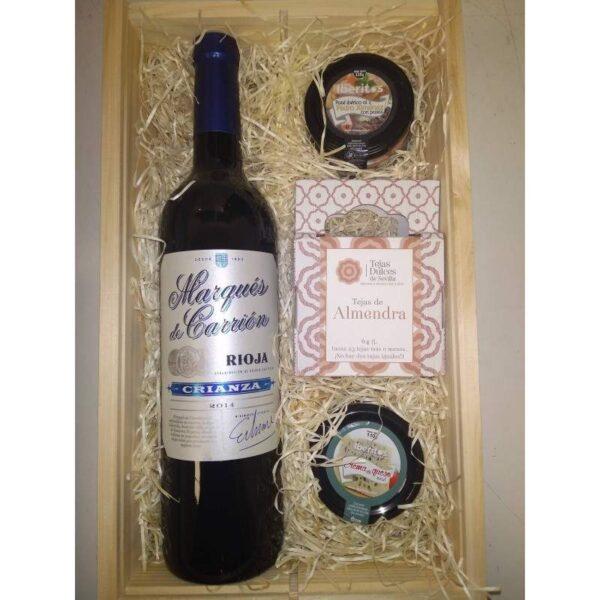 Lote regalo gourmet con vino Marqués de Carrión