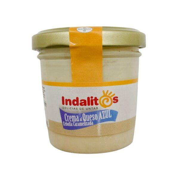 crema de queso azul con cebolla caramelizada