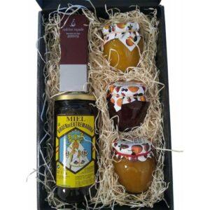 estuche de mermeladas, miel y bombones
